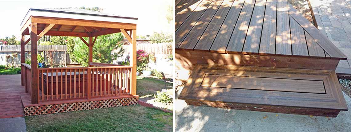 Step with interesting inlay; well-made gazebo